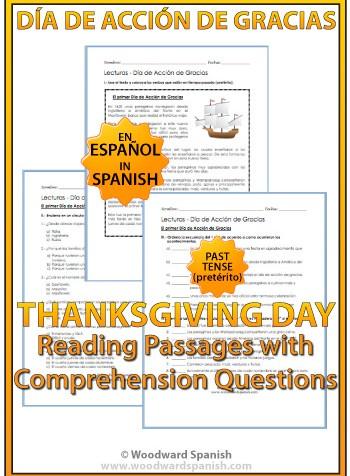 Thanksgiving Spanish Reading worksheets and activities - Día de Acción de Gracias