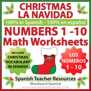 Christmas Math Worksheets in Spanish - Counting Spanish numbers from 1 to 10
