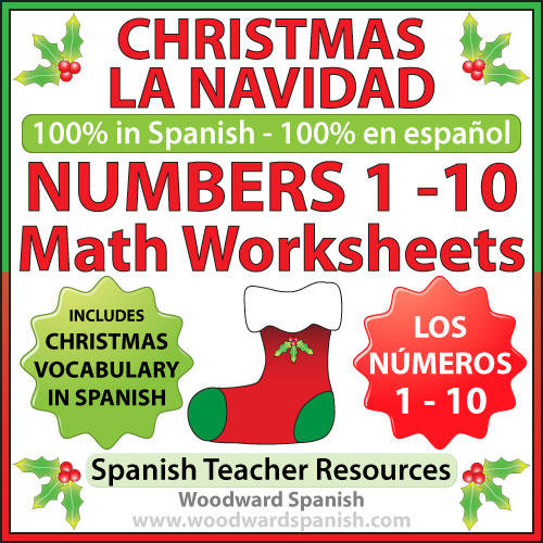 Christmas Math Worksheets in Spanish Numbers 1 to 10 – Spanish Math Worksheets