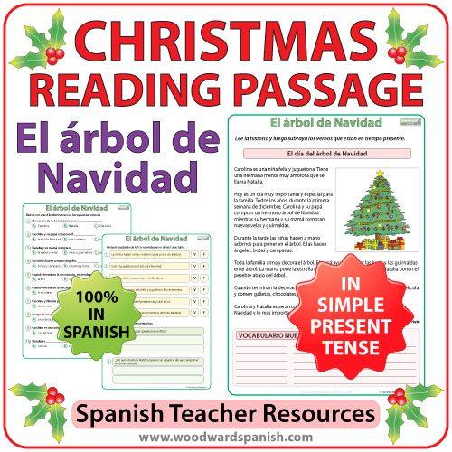 Christmas Reading Passage in Spanish about a Christmas Tree - El árbol de Navidad