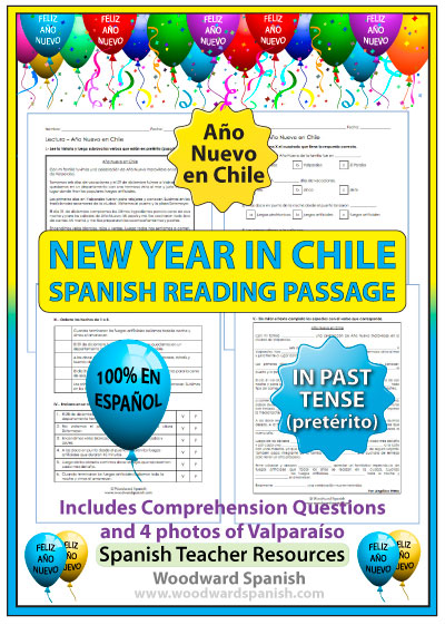 New Year in Chile - Spanish Reading Passage in Past Tense (Pretérito)