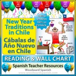 A guide to New Year's Eve traditions in Chile with a reading passage in Spanish (containing comprehension questions) and 4 versions of a wall chart.