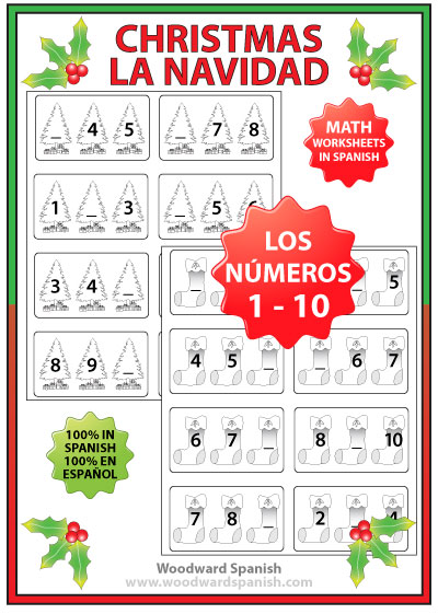 christmas math worksheets in spanish numbers 1 to 10 woodward spanish. Black Bedroom Furniture Sets. Home Design Ideas