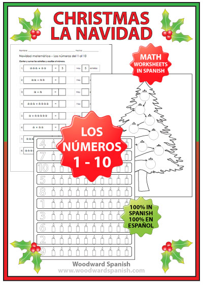 Christmas Math Worksheets In Spanish Numbers 1 To 10