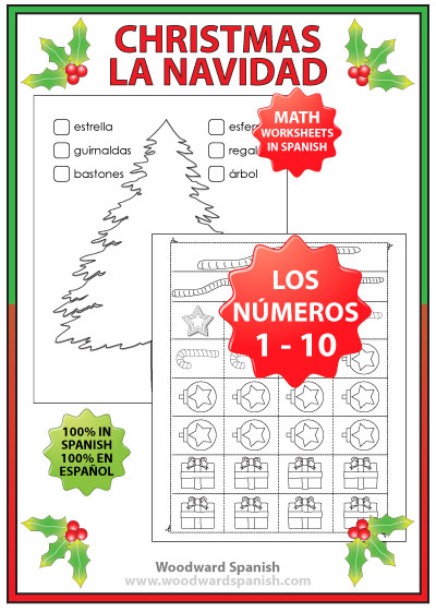 Spanish Christmas Tree Math Cut and Paste Activity
