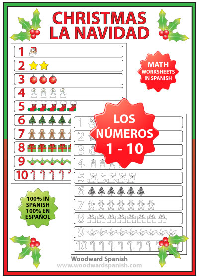 Spanish Christmas Math - Numbers 1 -10 Charts