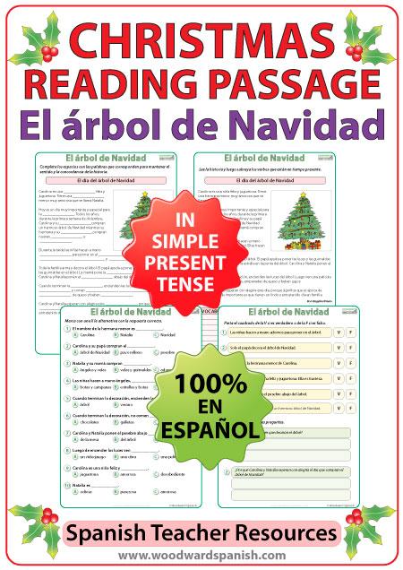 Spanish Reading Passage about a Christmas Tree - Lectura - El árbol de Navidad
