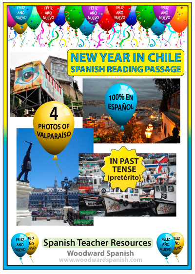 New Year in Chile - Spanish Reading Passage with Photos of Valparaiso - Año Nuevo en Chile