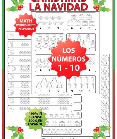 Christmas Math Worksheets in Spanish – Numbers 1 to 10 | Woodward ...