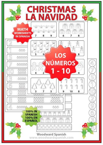 Spanish Math Worksheets - Numbers 1 -10 - Christmas