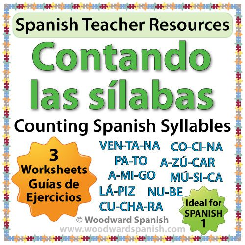 Worksheets about dividing Spanish words into their correct number of syllables