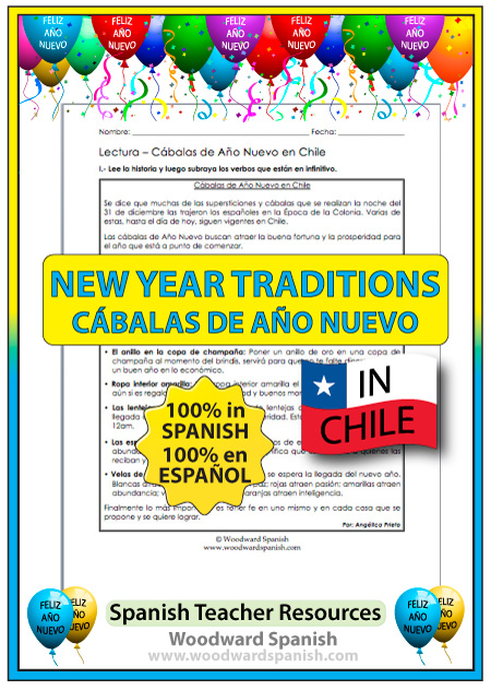 Reading Passage in Spanish about New Year's Eve Traditions in Chile