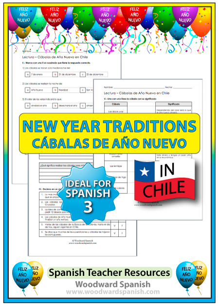Worksheets in Spanish about New Year's Eve Traditions in Chile
