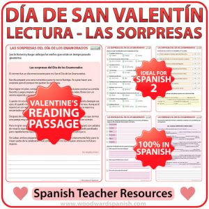 Spanish Reading about Valentine's Day - Sorpresas del Día de los Enamorados