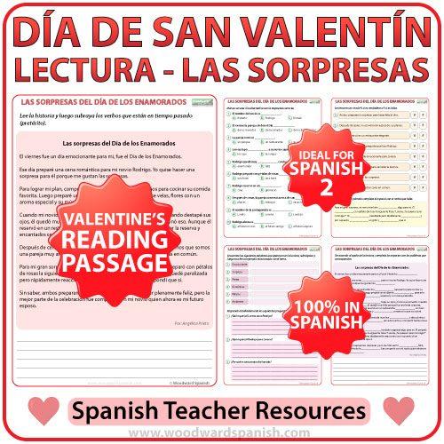Spanish Reading about Valentine's Day - Sorpresas del Día de los Enamorados