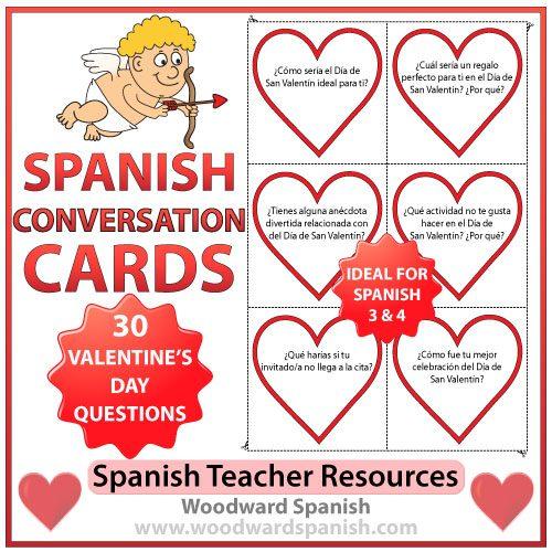 Spanish Conversation Cards about Valentine's Day