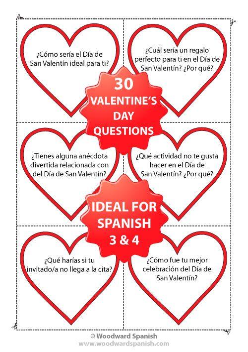 Spanish Conversation Cards containing questions relating to Valentine's Day - Preguntas de conversación - Día de San Valentín