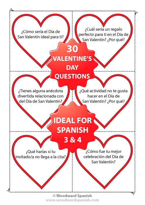 Spanish Conversation Cards containing questions relating to Valentine's Day - Preguntas de conversación - Día de San Valentín