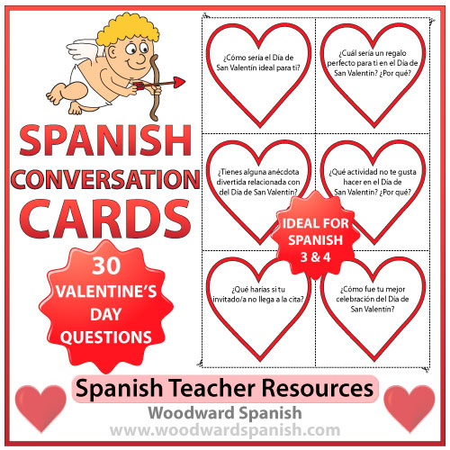 Spanish Conversation Cards about Valentine's Day