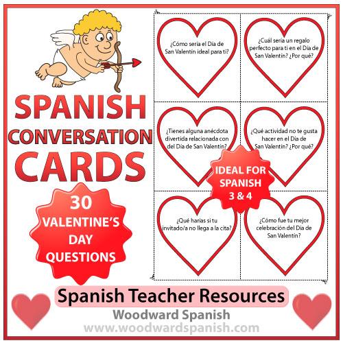 Spanish Conversation Cards About Valentineu0027s Day