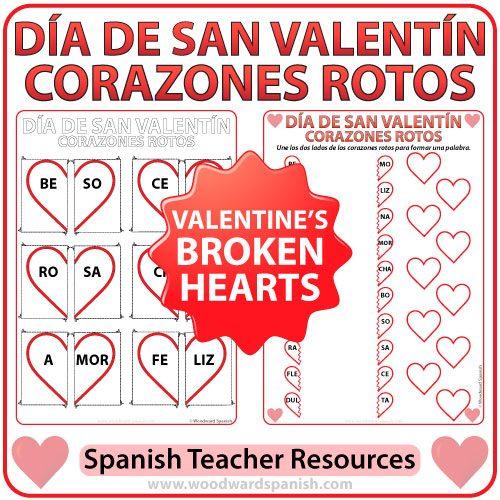 Valentine's Day Spanish Worksheet and Broken Hearts activities - Corazones Rotos - Día de San Valentín