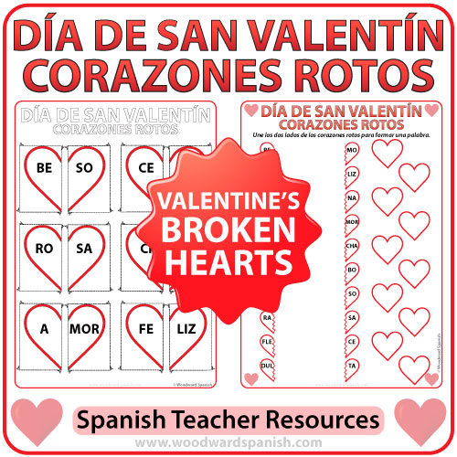 Valentines Day Broken Hearts Worksheet and Flash Cards in Spanish