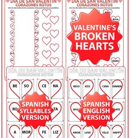 Spanish Valentine's Day Worksheet and Broken Hearts activities - Corazones Rotos - Día de San Valentín