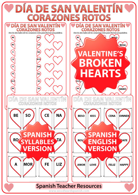 Spanish Valentine's Day Worksheet and Broken Hearts activities - Corazones Rotos - Día de San Valentín