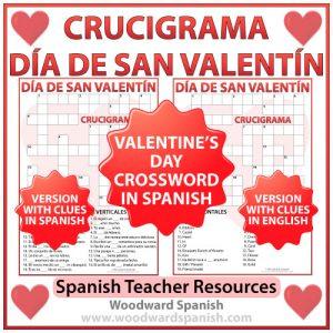 Valentine's Day Crossword in Spanish - Crucigrama Día de San Valentín - Día de los Enamorados