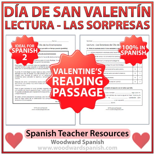 Valentine's Day Reading Passage in Spanish - Lectura - Las sorpresas del Día de los Enamorados
