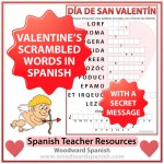 Valentine's Day Scrambled Words in Spanish with a secret message to decode.