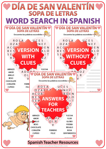 Spanish Valentine's Day Word Search - Sopa de Letras - Día de San Valentín