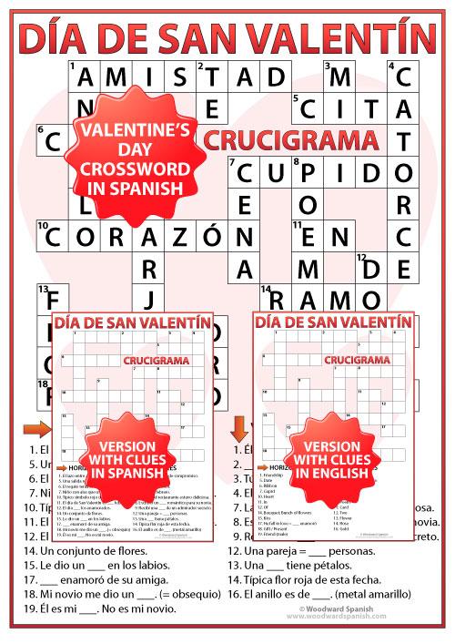 Spanish Valentine's Day Crossword - Crucigrama del Día de San Valentín - Día de los Enamorados