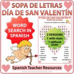 Valentine's Day Word Search in Spanish - Sopa de Letras - Día de San Valentín
