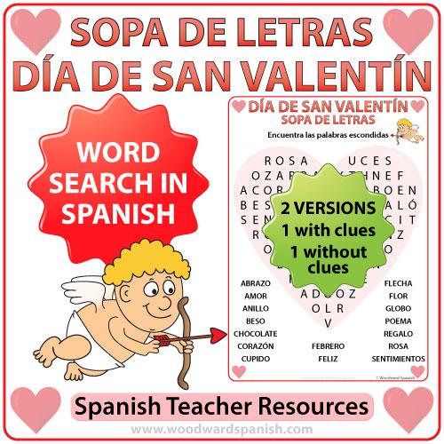 Valentine's Day Word Search in Spanish - Sopa de Letras - Día de San Valentín