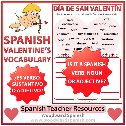 Valentine's Day Worksheet - Is it a Spanish Verb, Noun or Adjective?
