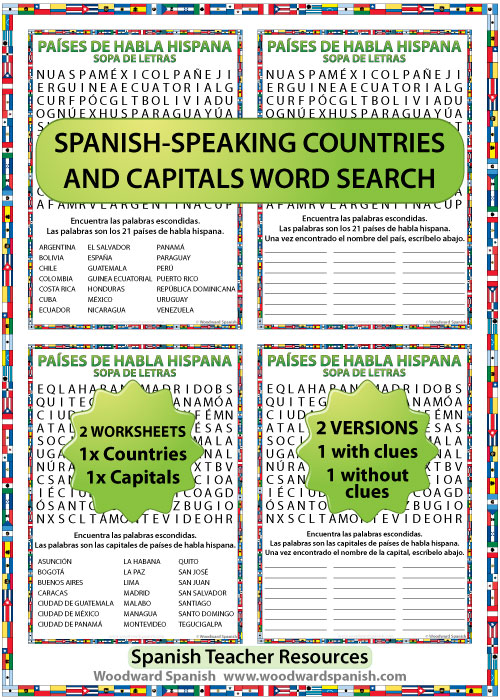 21 Spanish-speaking countries and capital cities word search - Sopa de letras