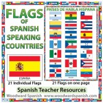 Flags of Spanish-speaking countries. Banderas de los países de habla hispana.