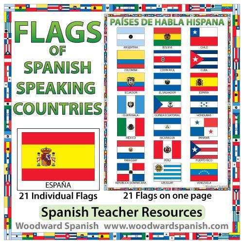 Flags of Spanish-speaking countries. Banderas de los países de habla hispana.