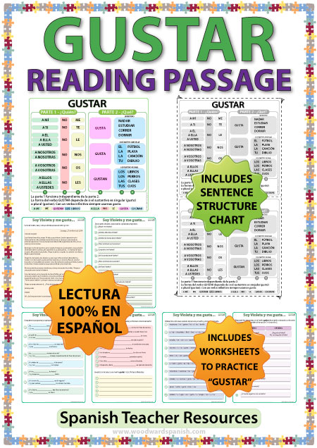 Spanish Verb Gustar Reading passage, worksheets and structure chart.