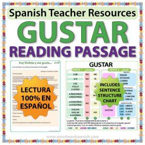 Spanish Verb Gustar - Reading Passage and Worksheets - El verbo Gustar.