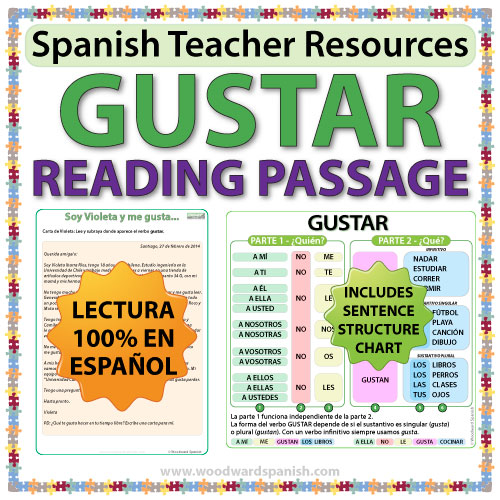 gustar spanish reading passage and worksheets woodward spanish. Black Bedroom Furniture Sets. Home Design Ideas
