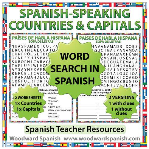 Spanish-speaking countries and capitals word search - Sopa de letras de los países de habla hispana y sus capitales