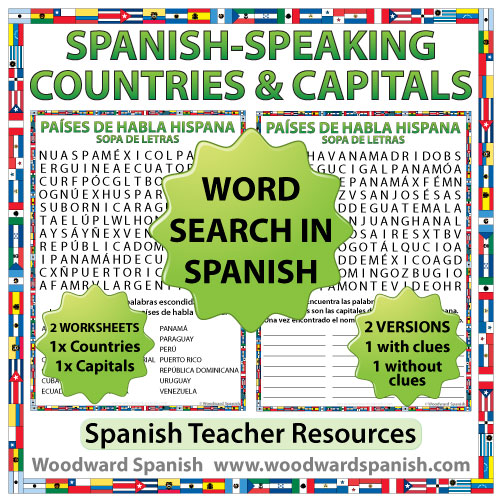 Spanish-speaking countries and capitals word search - Sopa de letras de los países de habla hispana y sus capitales
