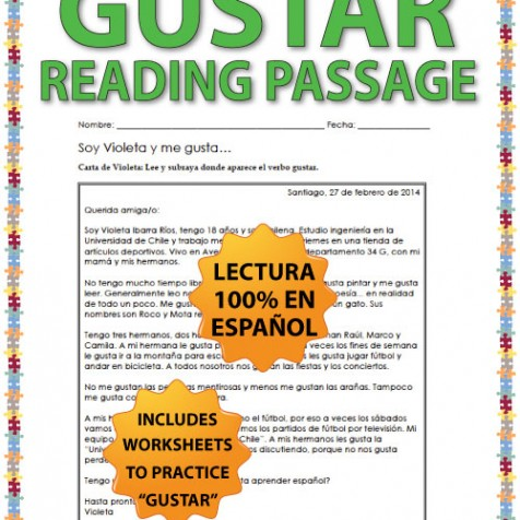 Spanish Verb Gustar Reading passage and worksheets