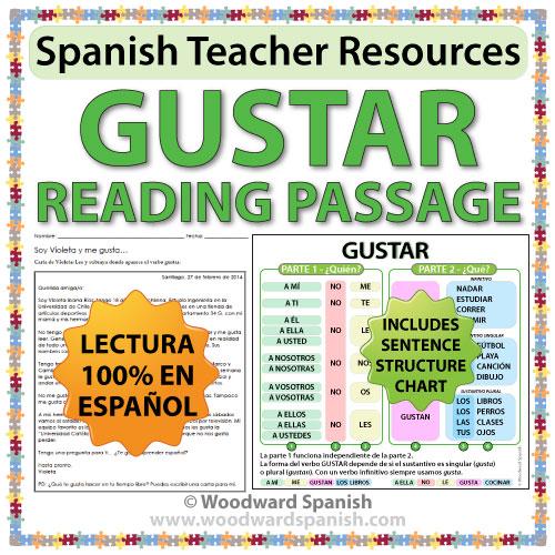 Gustar Spanish Reading Passage and Worksheets – Gustar Worksheet