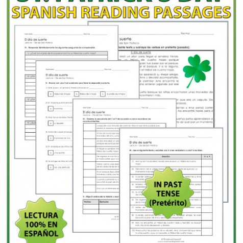 Lectura - El día de suerte - Saint Patrick's Day reading passage in Spanish using the Past Tense (Pretérito).