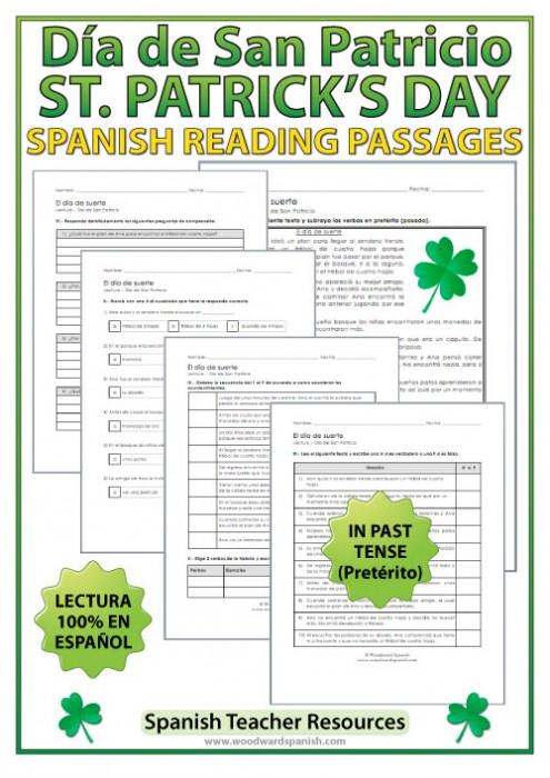 Lectura - El día de suerte - Saint Patrick's Day reading passage in Spanish using the Past Tense (Pretérito).