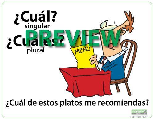 Question Words in Spanish Wall Chart - Cuál Cuáles