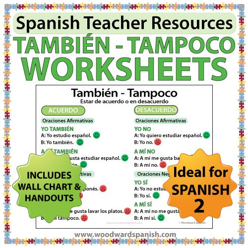 Tambien vs Tampoco worksheets and wall chart in Spanish - Spanish teacher resources